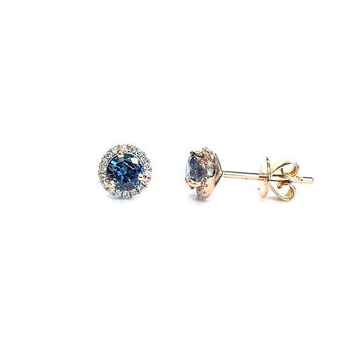 COLOR CHANGING GARNET & DIAMOND HALO STUD EARRINGS 18KTRG