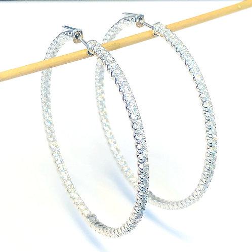WOW! 5.77CT. BIG DIAMOND HOOP EARRINGS !