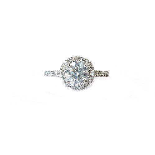1.08CT. GIA G/I1 ROUND DIAMOND HALO ENGAGEMENT RING 18KTWG