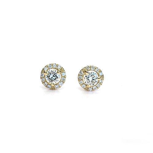 0.24CTTW. PETITE YELLOW GOLD DIAMOND HALO STUD EARRINGS