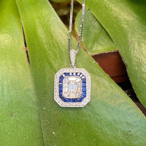 BLUE SAPPHIRE & DIAMOND CLUSTER STYLE DOUBLE HALO NECKLACE