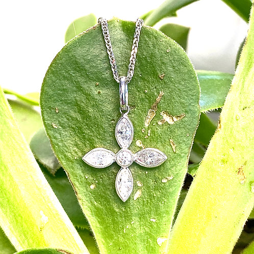 COMPASS ROSE MARQUISE & ROUND DIAMOND CROSS PENDANT