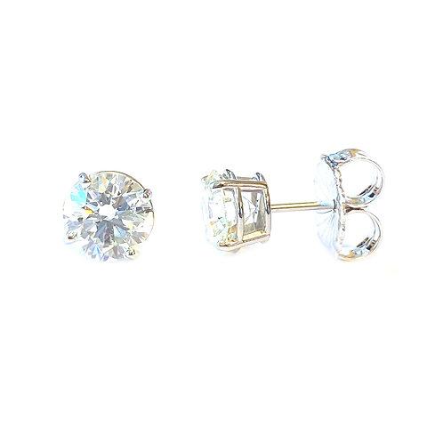 3.19CTTW. GIA CERTIFIED ROUND DIAMOND STUD EARRINGS