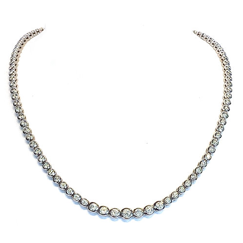 5.36CT. RIVIERA BEZEL STYLE DIAMOND TENNIS NECKLACE