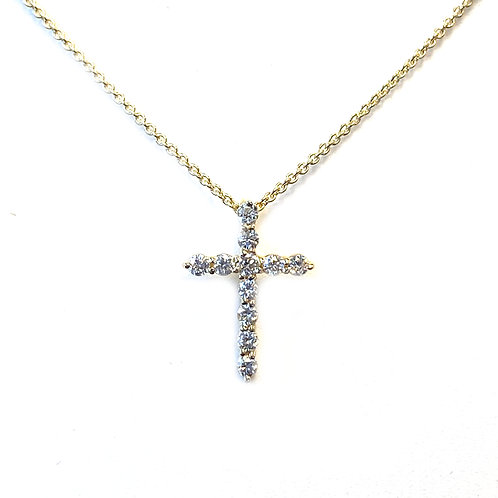 14KTYG PETITE DIAMOND CROSS PENDANT