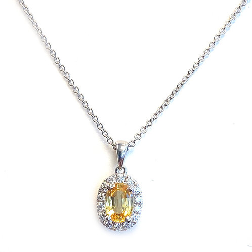 0.97CT. GIA ORANGY YELLOW OVAL SAPPHIRE & DIAMOND HALO PENDANT