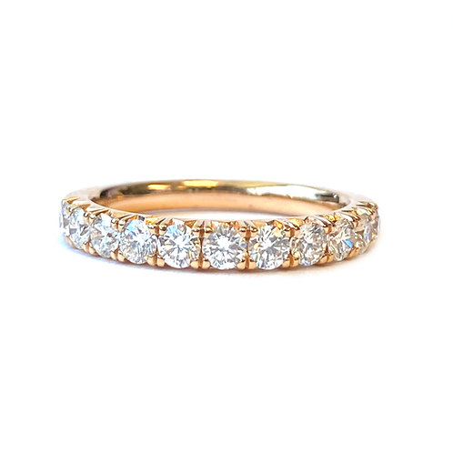 0.80CT. FRENCH PAVE STYLE ROSE GOLD DIAMOND ANNIVERSARY BAND SIZE 6.5