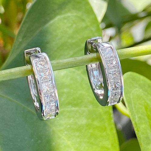 PRINCESS CUT DIAMOND HOOP EARRINGS