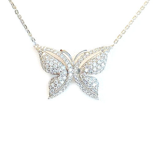 FASHION BEAUTIFUL DIAMOND BUTTERFLY PENDANT NECKLACE