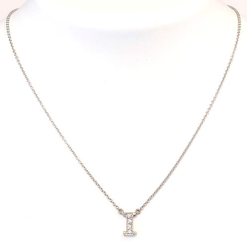 "FASHION ""I"" DIAMOND INITIAL PENDANT NECKLACE"