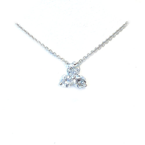0.37CT. THREE DIAMOND SLIDE PENDANT NECKLACE