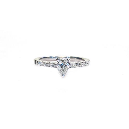 0.58CTTW. GIA G/VS2 PEAR SHAPE DIAMOND ENGAGEMENT RING