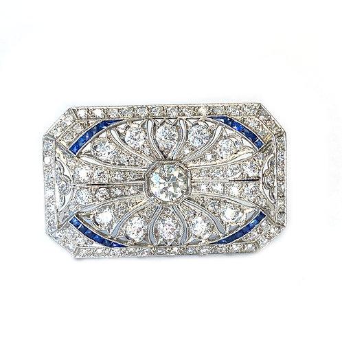 ART DECO PLATINUM DIAMOND AND BLUE SAPPHIRE BROOCH