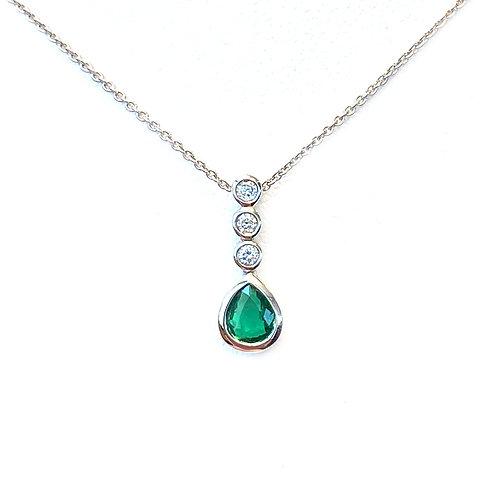 PETITE NATURAL GREEN EMERALD & NATURAL DIAMOND BEZEL SET PENDANT