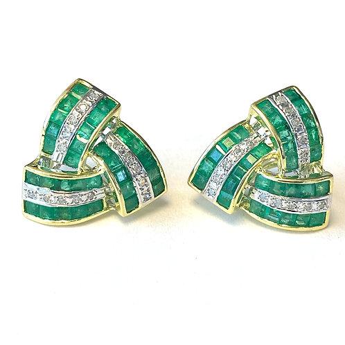 GREEN EMERALD & DIAMOND TRIANGLE KNOT EARRINGS
