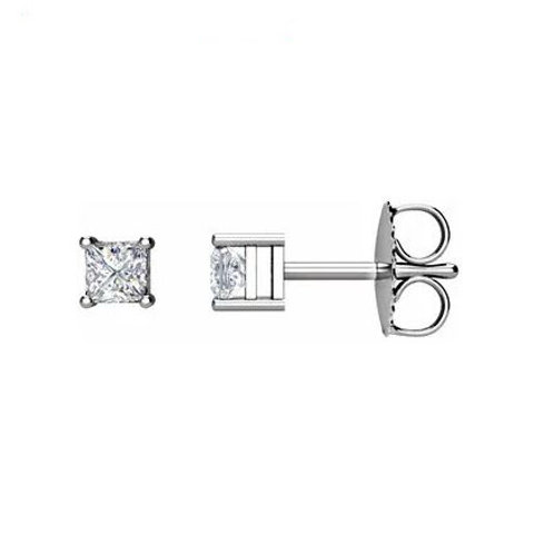 0.37CT. PRINCESS CUT DIAMOND STUD EARRINGS