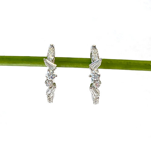 18KTWG MULTI-SHAPE DIAMOND HOOP EARRINGS