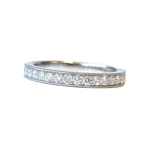 VINTAGE INSPIRED BEAD SET STYLE DIAMOND ETERNITY BAND IN PLATINUM SIZE 5