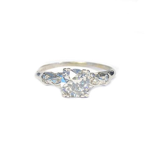 ART DECO DIAMOND RING OLD EUROPEAN CUT 0.82 I/SI2 GIA