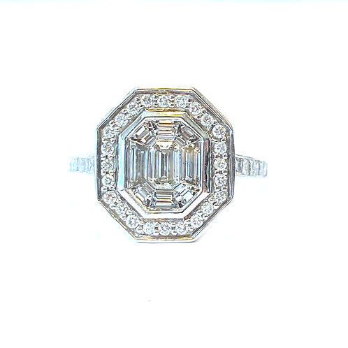 WHITE GOLD CLUSTER STYLE DIAMOND RING
