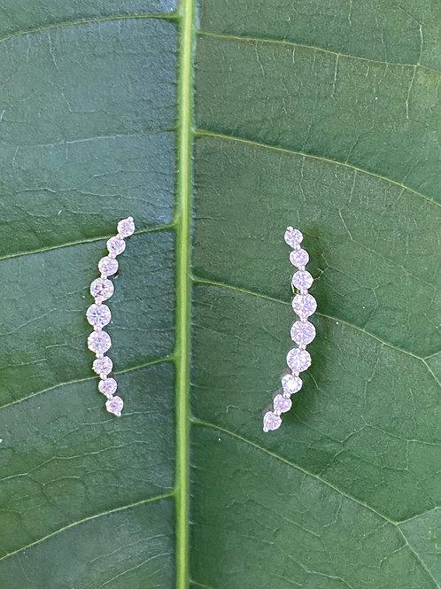 18KTWG ROUND DIAMOND CLIMBER STUD STYLE EARRINGS