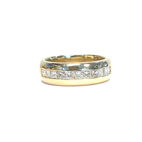 14KTYG 1.21CTTW. PRINCESS CUT DIAMOND WEDDING BAND