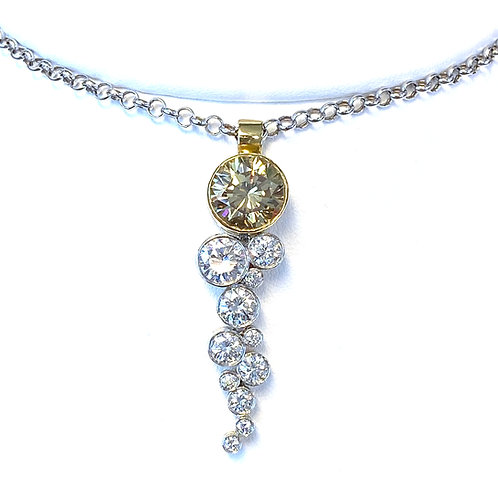 2.81CT. FANCY BROWN YELLOW ROUND DIAMOND BEZEL & BUBBLE PENDANT IN TWO-TONE GOLD