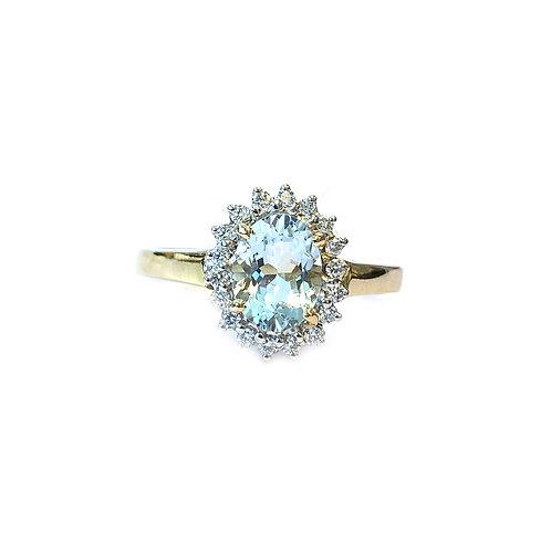 AQUAMARINE & DIAMOND HALO FASHION RING