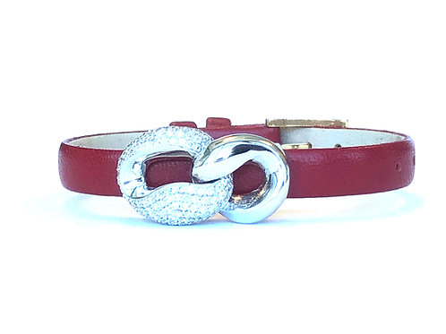 1.16CT. PAVE DIAMOND INFINITY LOOP CHARM WITH RED LEATHER STRAP