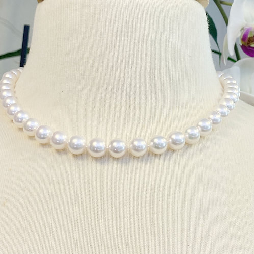 9-9.5MM AAA JAPANESE AKOYA  PEARL NECKLACE WITH DIAMOND BALL TONGUE CLASP