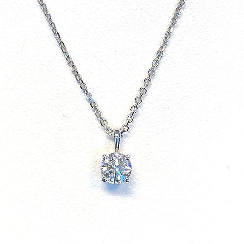 0.40CT. GIA ROUND DIAMOND SOLITAIRE PENDANT NECKLACE