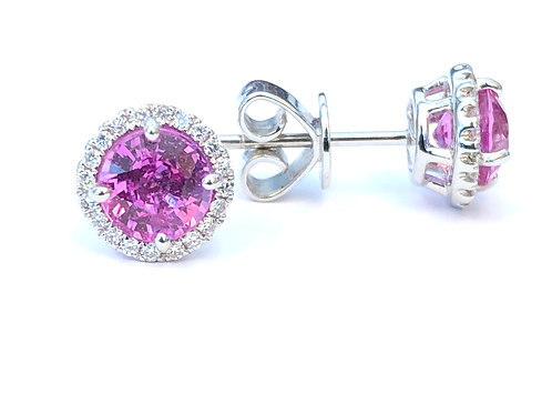 PINK SAPPHIRE & DIAMOND HALO STUD EARRINGS