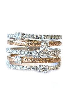 18KT WHITE & ROSE GOLD DIAMOND RIGHT HAND RING