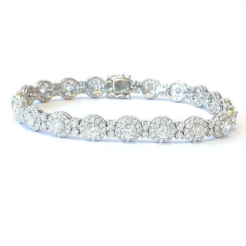 6.55CT. DIAMOND HALO STYLE TENNIS BRACELET