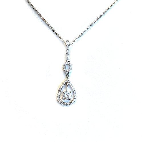 FASHION ROUND DIAMOND DROP PEAR SHAPED HALO PENDANT NECKLACE