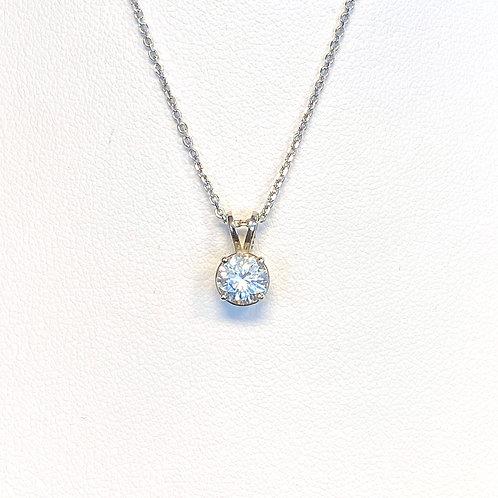 0.74CT. ROUND DIAMOND SOLITAIRE PENDANT IN 14KTWG