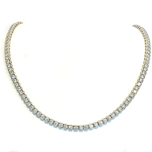 14.00 CT. HALF BEZEL SET SINGLE LINE DIAMOND TENNIS NECKLACE IN PLATINUM