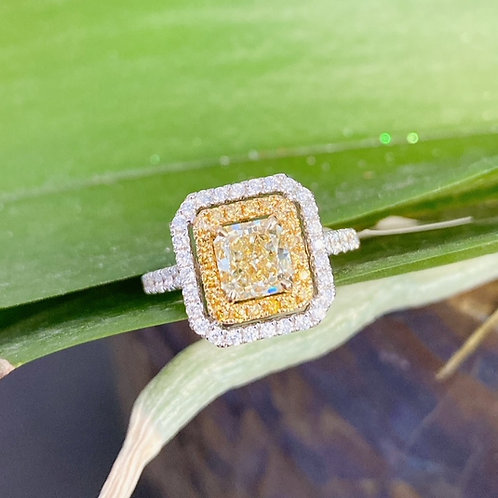 1.27CT. FANCY YELLOW DOUBLE HALO DIAMOND RING