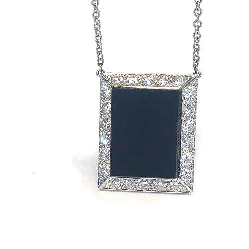 BLACK ONYX & DIAMOND HALO NECKLACE