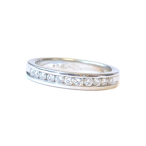 PLATINUM CHANNEL SET ROUND DIAMOND BAND SIZE 5