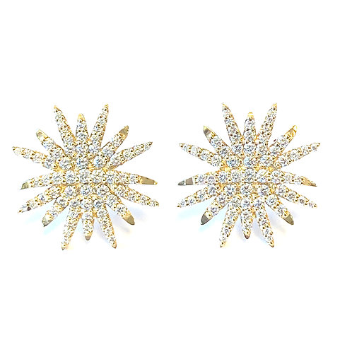 LARGE STARBURST DIAMOND STUD EARRINGS 18KTYG