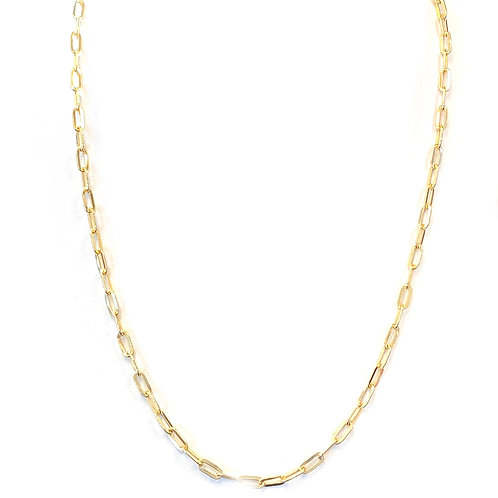 "14KTYG PAPERCLIP 22"" CHAIN NECKLACE"