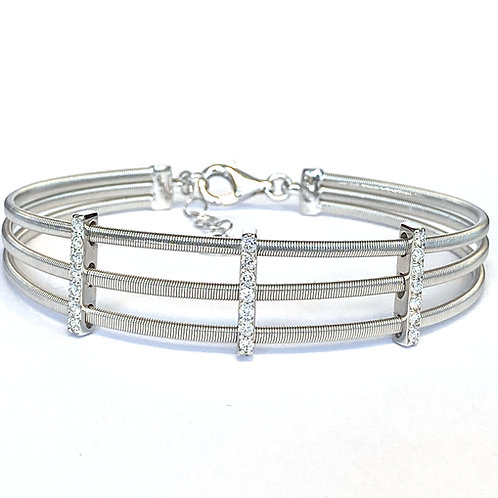 14KTWG THREE-ROW COIL MESH WIRE CUFF BRACELET
