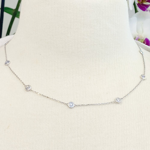 0.77CT. BEZEL STATIONED WITH MILGRAIN DIAMOND NECKLACE