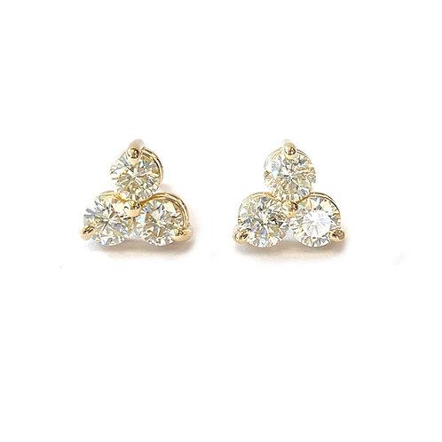 1.64CT. THREE STONE DIAMOND STUD EARRINGS IN YELLOW GOLD