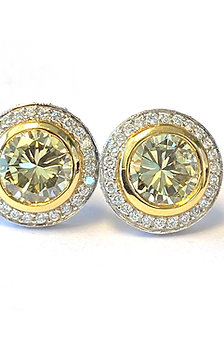 FANCY YELLOW DIAMOND HALO STUD EARRINGS
