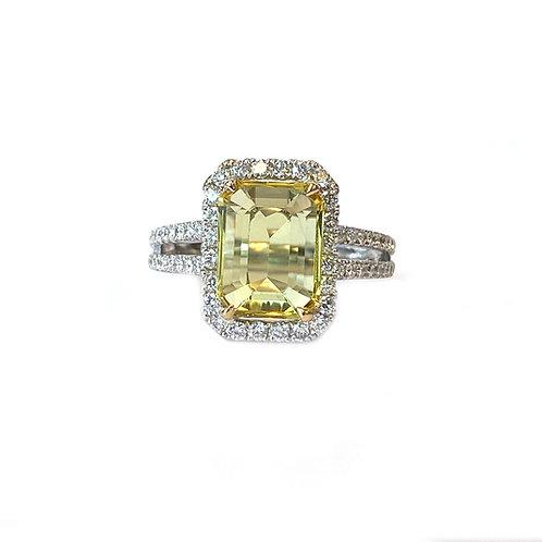 2.83CT. GIA NO-HEAT YELLOW SAPPHIRE & DIAMOND HALO RING 18KTWG
