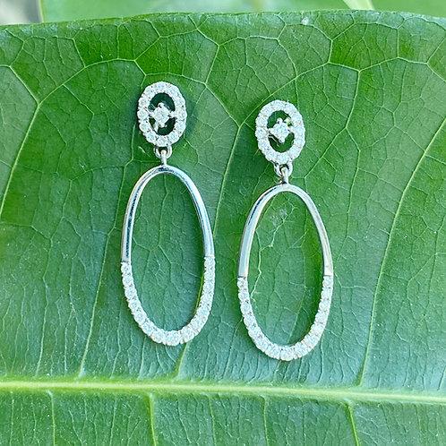 18KTWG OVAL DANGLE DIAMOND EARRINGS
