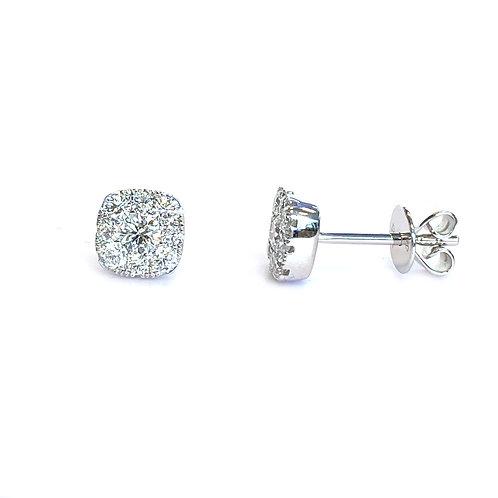 SQUARE CLUSTER DIAMOND STUD EARRINGS 18KTWG