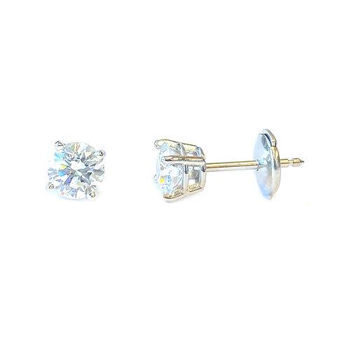 1.03CTTW. CLASSIC ROUND DIAMOND STUD EARRINGS